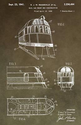 Vintage 1941 Train Patent Art Print