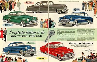 General Motors Digital Art - Vintage 1951 Advert General Motors Car Gm by Georgia Fowler