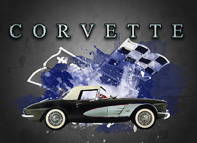 Mixed Media - Vintage  1961 Corvette by Andre Voss