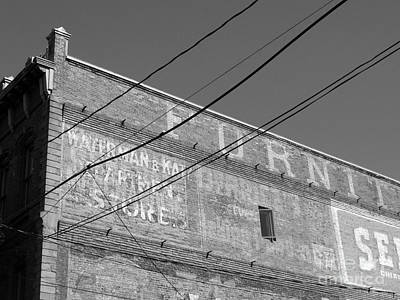 Photograph - Vintage Advertising On Brick B W by Connie Fox