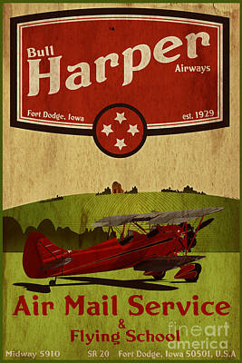 Aviator Painting - Vintage Air Mail Service by Cinema Photography