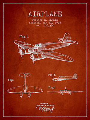 Transportation Digital Art - Vintage Airplane patent Drawing from 1938 by Aged Pixel