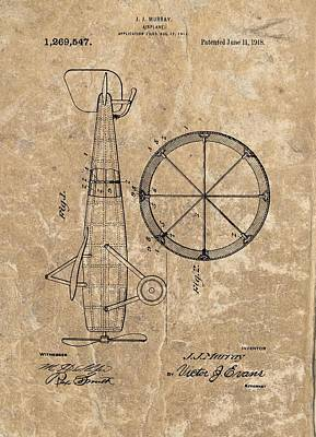 Aviators Drawing - Vintage Airplane Patent Illustration 1918 by Dan Sproul