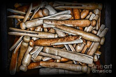 Vintage And Old Fashion Clothespins Art Print by Paul Ward