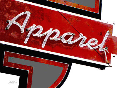 Photograph - Vintage Apparel Sign Red And Gray by Ann Powell