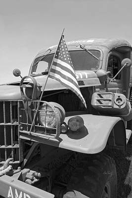 Vintage Army Ambulance In Black And White Art Print by Ann Powell