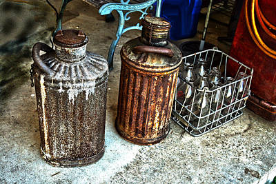 Photograph - Hdr Vintage Art  Cans And Bottles by Lesa Fine