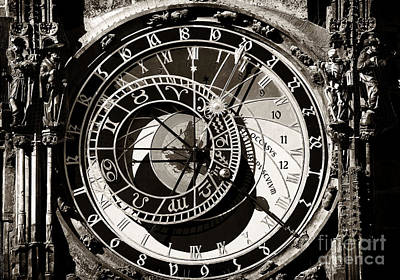 Vintage Astronomical Clock Art Print by John Rizzuto