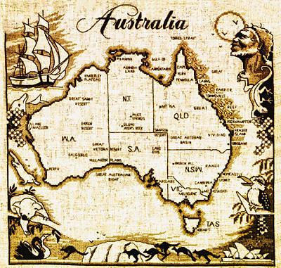 Australia Map Digital Art - Vintage Australia Map by Bill Cannon