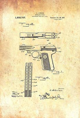 1916 Drawing - Vintage Automatic Pistol Patent by Mountain Dreams