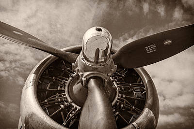 Monochrome Photograph - Vintage B-17 by Adam Romanowicz
