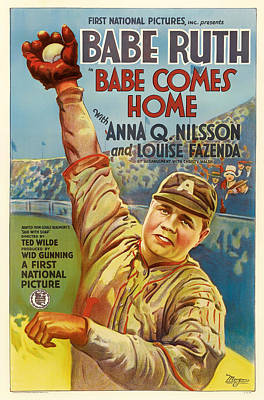 Babe Ruth Drawing - Vintage Babe Comes Home Movie Poster by Mountain Dreams