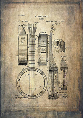 Acoustical Digital Art - Vintage Banjo Patent Drawing by Maria Angelica Maira