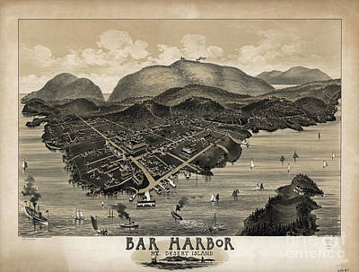 Maine Mountains Photograph - Vintage Bar Harbor Map by Edward Fielding