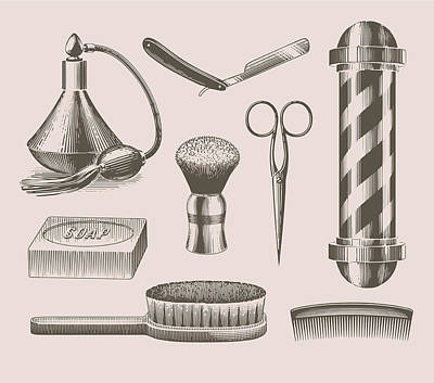 Digital Art - Vintage Barbershop Objects by Darumo