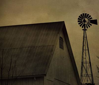 Vintage Barn And Windmill Art Print by Dan Sproul