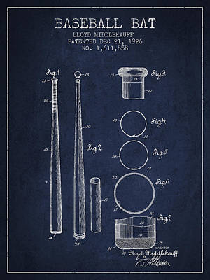 Softball Drawing - Vintage Baseball Bat Patent From 1926 by Aged Pixel