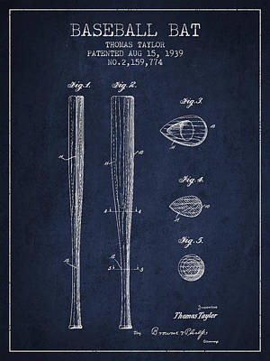 Softball Drawing - Vintage Baseball Bat Patent From 1939 by Aged Pixel