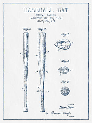 Sports Royalty-Free and Rights-Managed Images - Vintage Baseball Bat Patent from 1939 - Blue Ink by Aged Pixel