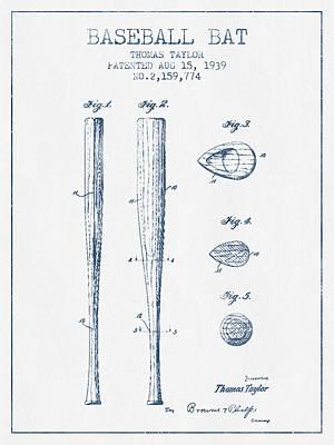 Gloves Digital Art - Vintage Baseball Bat Patent From 1939 - Blue Ink by Aged Pixel