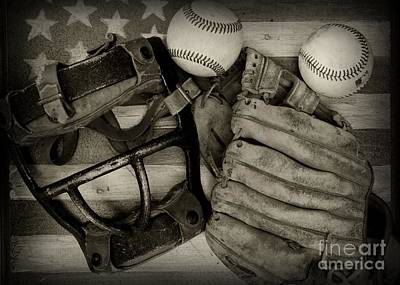 Folk Art Photograph - Vintage Baseball Equipment by Paul Ward