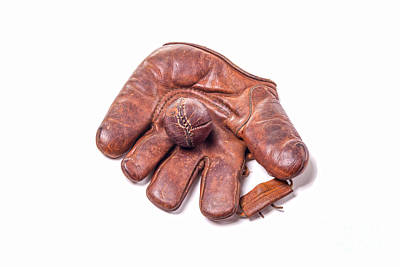 Photograph - Vintage Baseball Glove And Ball by Patricia Hofmeester