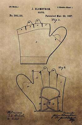 Digital Art - Vintage Baseball Glove Patent by Dan Sproul