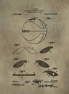 Vintage Basketball Patent Art Print by Dan Sproul