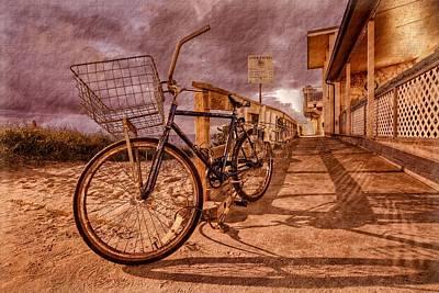 Vintage Beach Bike Art Print by Debra and Dave Vanderlaan