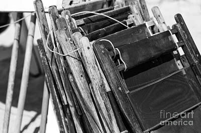 Photograph - Vintage Beach Chairs Mono by John Rizzuto