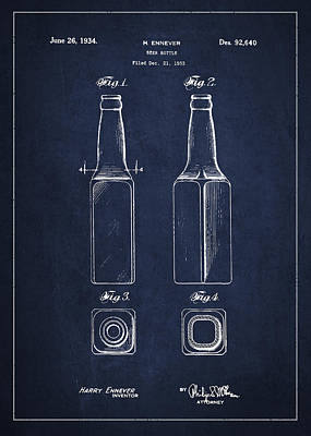 Beer Royalty-Free and Rights-Managed Images - Vintage Beer Bottle Patent Drawing from 1933 - Blue by Aged Pixel
