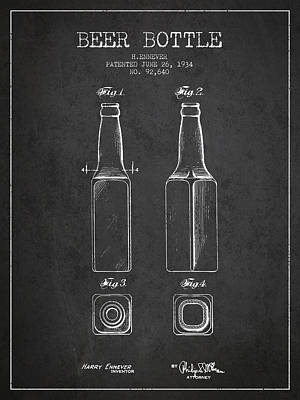 Glass Wall Digital Art - Vintage Beer Bottle Patent Drawing From 1934 - Dark by Aged Pixel