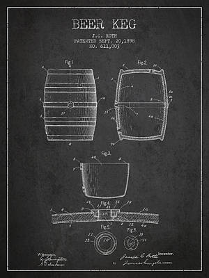 Living Room Decor Drawing - Vintage Beer Keg Patent Drawing From 1898 - Dark by Aged Pixel