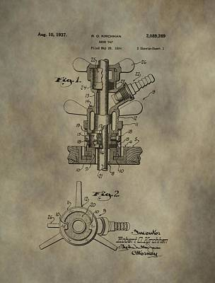 Owner Mixed Media - Vintage Beer Tap Patent by Dan Sproul