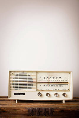 Object Photograph - Vintage Beige Radio Sitting On Wood by Ideabug