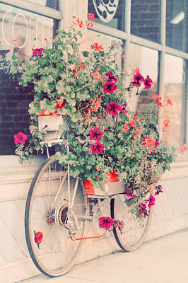 Vintage Bicycle Flowers Photograph Art Print by Elle Moss