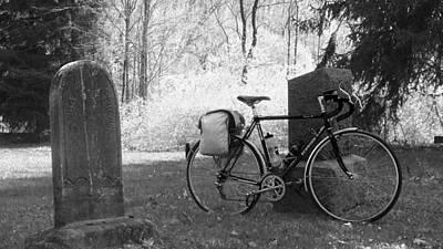 Vintage Bicycle In Graveyard Art Print