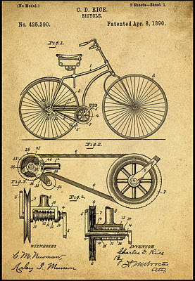 1890 Patent Digital Art - Vintage Bicycle Patent 1890 by Bill Cannon