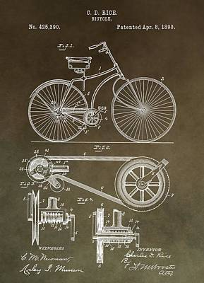 20th Mixed Media - Vintage Bicycle Patent Brown by Dan Sproul
