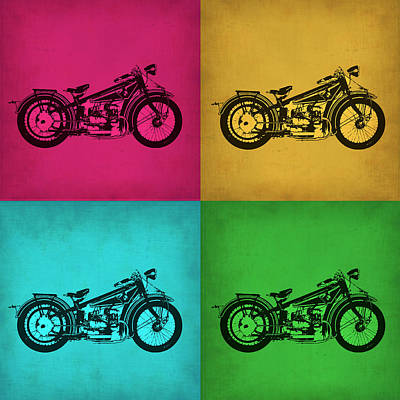 Motorcycle Painting - Vintage Bike Pop Art 1 by Naxart Studio