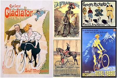 Photograph - Vintage Bike Riders Collage by Don Struke