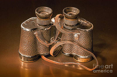 Photograph - Vintage Binoculars - Painterly by Les Palenik