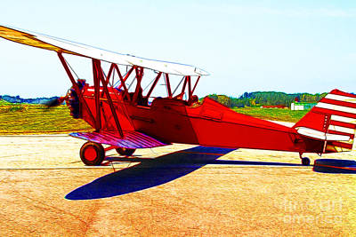 Vintage Biplane - 7d15525 - Color Sketch Style Art Print by Wingsdomain Art and Photography