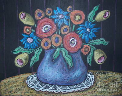 Oil Pastel Painting - Vintage Blooms by Karla Gerard