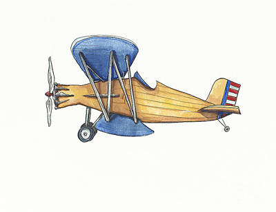 Biplane Painting - Vintage Blue And Yellow Airplane by Annie Laurie