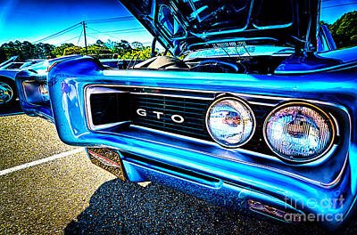 Photograph - Vintage Blue Pontiac Gto Muscle Car by Danny Hooks