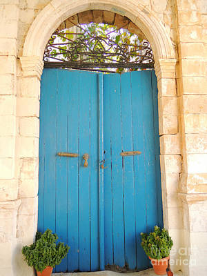 Greek Photograph - Vintage Blue Rustic Weathered Door  Photo Of Greece by Cimorene Photography