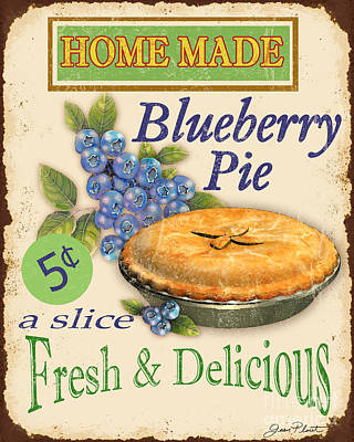 Bakery Digital Art - Vintage Blueberry Pie Sign by Jean Plout