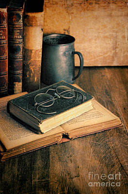 Vintage Books And Eyeglasses Print by Jill Battaglia
