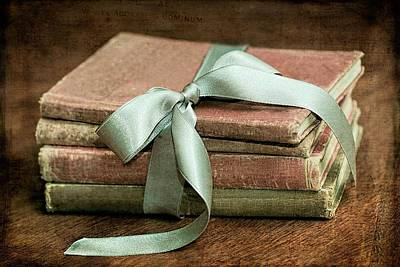 Photograph - Vintage Books Tied With Mint Ribbon by Tracie Kaska